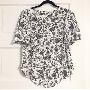 H&M White & Navy Floral Print Short-Sleeve Blouse